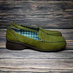 Indigo By Clarks Green Suede Leather Square Toe Lo